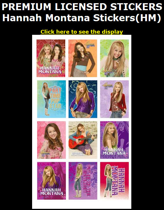 Hannah Montana Stickers (HM). Display