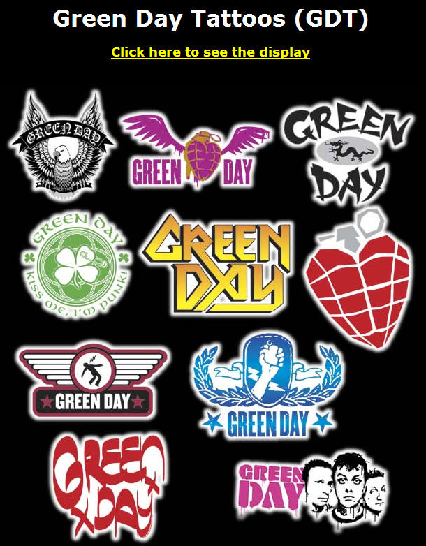 Green Day Tattoos (GDT). Display